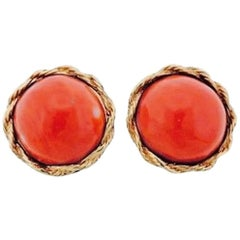 Midcentury 14 Karat Gold Red Coral Cabochon Clip Drop Earrings