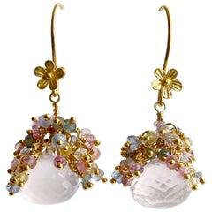 Rose Quartz Pastel Sapphires Cluster Tendrils Earrings