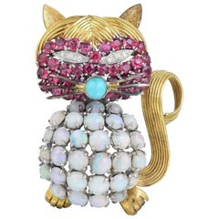 Opal Ruby Diamond and Turquoise Cat Brooch