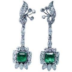1950s Emerald Diamond Dangle Earrings