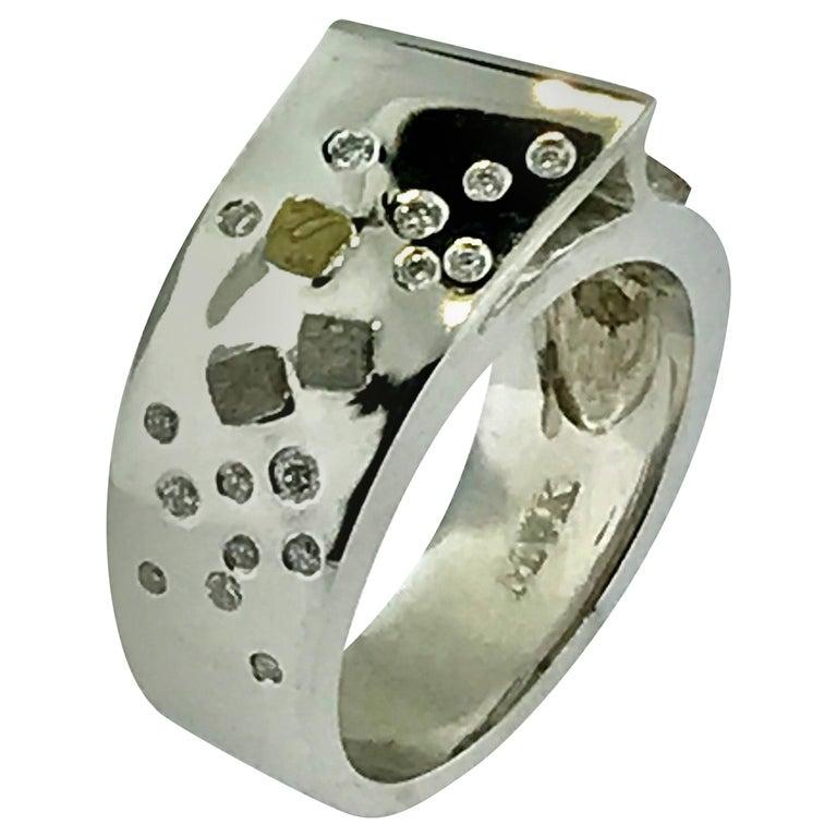 1.25 Carat of Raw Diamonds Set in 14 Karat White Gold Ring