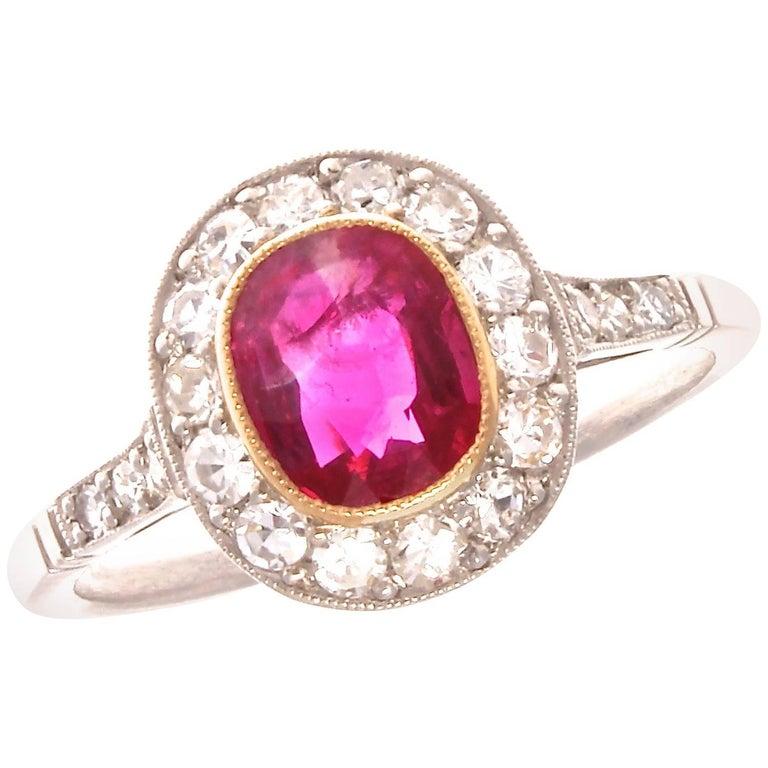 1.00 Carat Ruby Diamond Platinum Ring