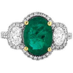 Yael Designs 3.24 carat Oval Emerald and Diamond Ring in 18kt Gold