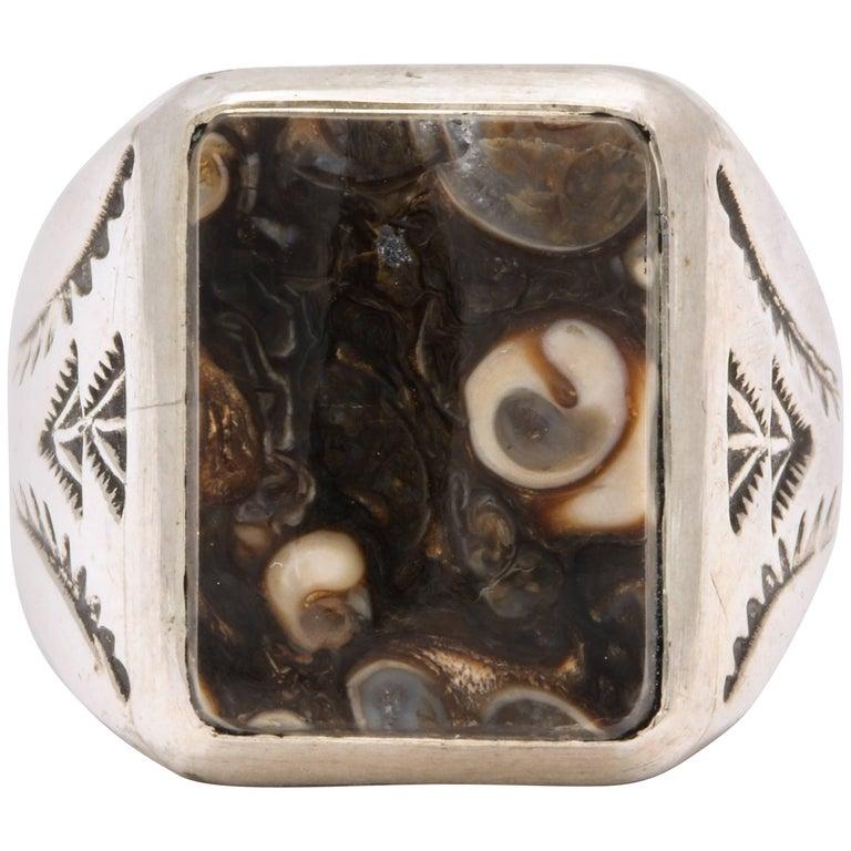 Vintage Sterling Navajo Fossil Ring For Sale
