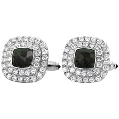 Yael Designs 5.19 carat Black Diamond White Diamond Cufflinks in Gold