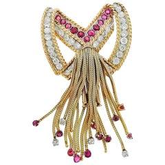 French 18 Karat Gold 3.90 Carat Ruby VS Diamond Necklace Pendant