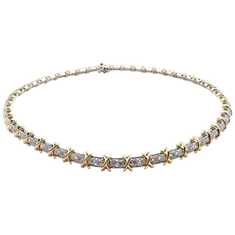 Tiffany & Co. Jean Schlumberger Platinum and Yellow Gold Diamond X Necklace