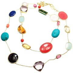 H.Stern Diane von Furstenberg Multicolor Large Stones Gold Necklace