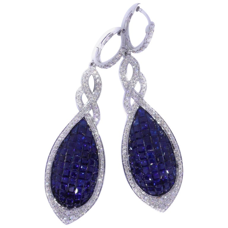 Sapphire and Diamond Drop French Calibre Cut Earrings 9.21 Carat