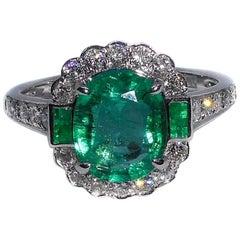 Emerald and Diamond 18 Carat White Gold 2.14 Carat Dress Ring