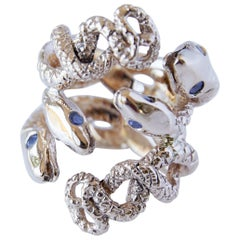 Four Head Snake Ring with Tanzanite Gems Fashion Ring