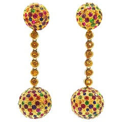 2 in 1 Multicolored Gem Yellow Sapphire Yellow Gold Dangle Ball Earrings Studs