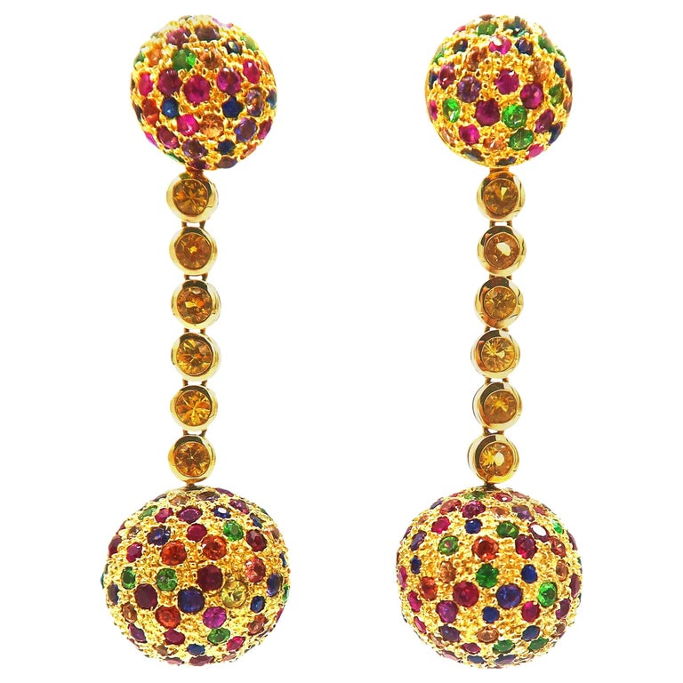 2 In 1 Multicolored Gem Yellow Shire Gold Dangle Ball Earrings Studs For