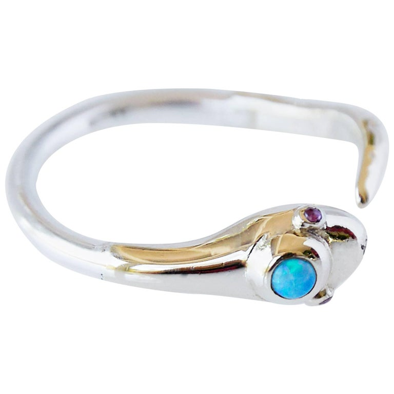 Open Snake Ring in 10 Karat Gold, Silver, opal and ruby eyes