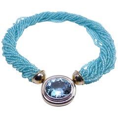 Fine Aquamarine Apatite 18 Karat White Gold Necklace Clasp