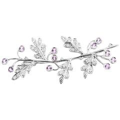 Cathy Waterman Pink Sapphire Diamond Platinum Branch Brooch