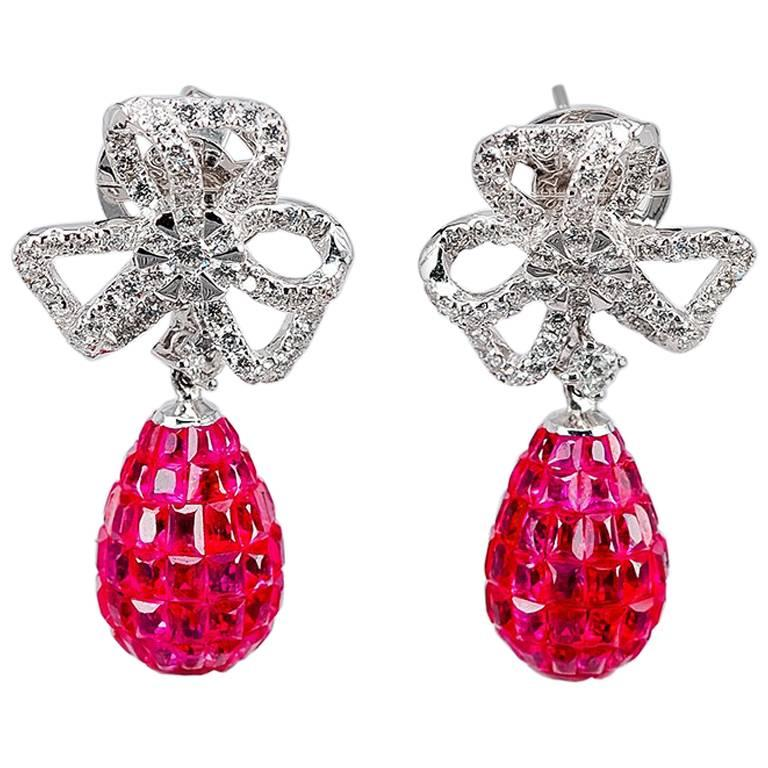 a7861e6fc 18K White gold invisible Ruby Dangle Earrings For Sale at 1stdibs