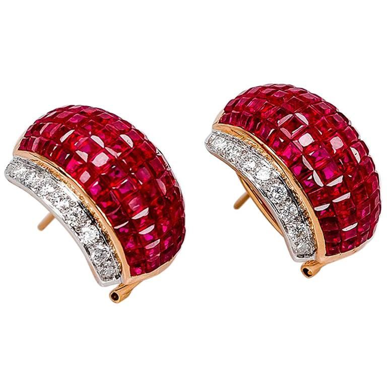 4015c977b 18K White gold invisible Ruby and Diamond Hoop Earrings For Sale at ...