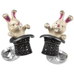Deakin & Francis Sterling Silver Black Spinel Rabbit in Hat Cufflinks