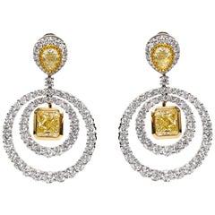 GIA Square Pear 19.38 Carat Yellow White Platinum Diamond Drop Circle Earrings