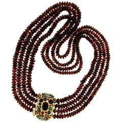 Vintage Garnet Three-Strand Necklace Diamond Sapphire Ruby Emerald Clasp