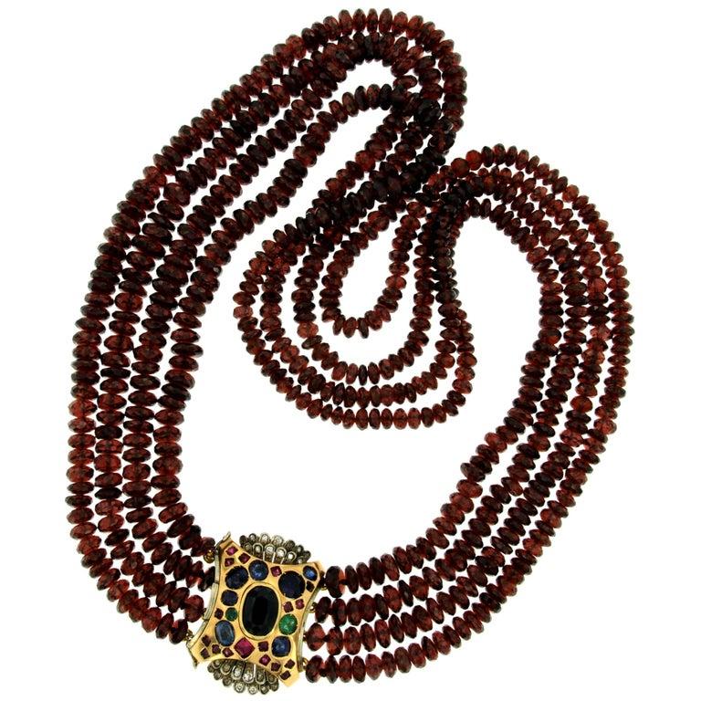 Vintage Garnet Three-Strand Necklace Diamond Sapphire Ruby Emerald Clasp