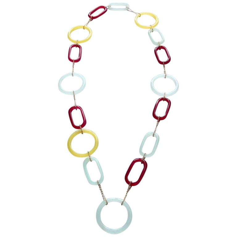 Oval and Circle Long Necklace Gold