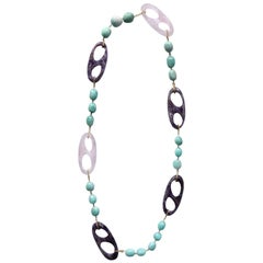 Marine Knots Long Necklace Rose Quartz Amethyst Gold