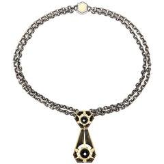 Élie Top Étoile Mysterieuse Collier Cravate or Jaune Onyx Diamants