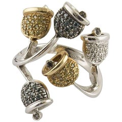 Fancy and White Diamonds  White Gold Bells Ring