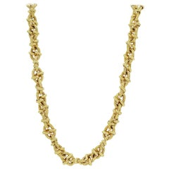 Homemade Yellow Gold Link Textured Heavy Necklace