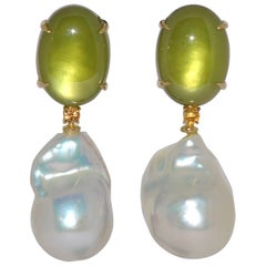 Green Quartz, Pearls and Yellow Sapphires, Yellow Gold Chandelier Earrings