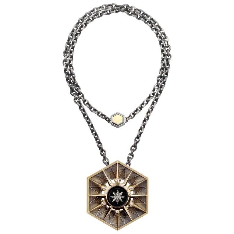 Elie Top Étoile Mystérieuse Collier Hexa or Jaune Onyx Diamants