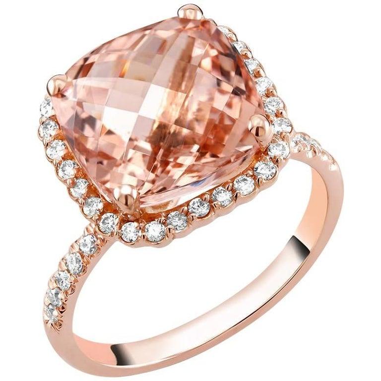 18k Rose Gold Cocktail six Carat Morganite Diamond Ring