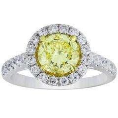 GIA Certified Intense Yellow Round Diamond Halo Engagement Ring