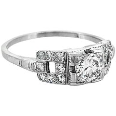 .33 Carat Diamond Antique Engagement Ring 18 Karat White Gold