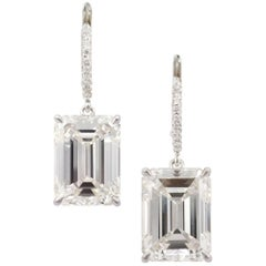 GIA Pair of 10.03 Carat & 10.08 Carat Emerald Cut Diamond Earrings by J Birnbach