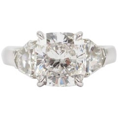 J. Birnbach GIA Certified 4.01 Carat G SI2 Cushion Cut Diamond Ring