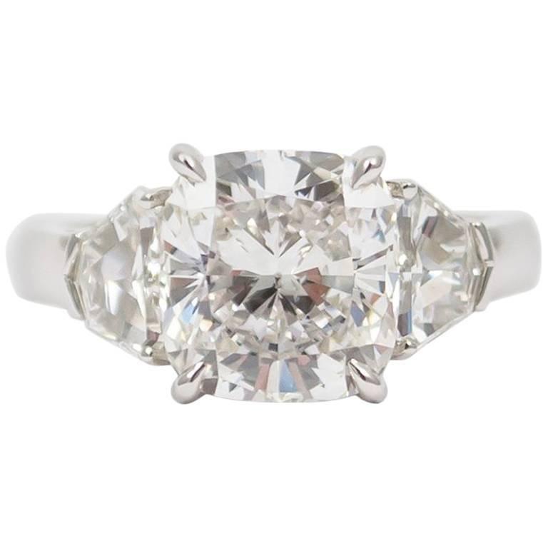 J. Birnbach GIA Certified 4.01 Carat Cushion Cut Diamond Ring