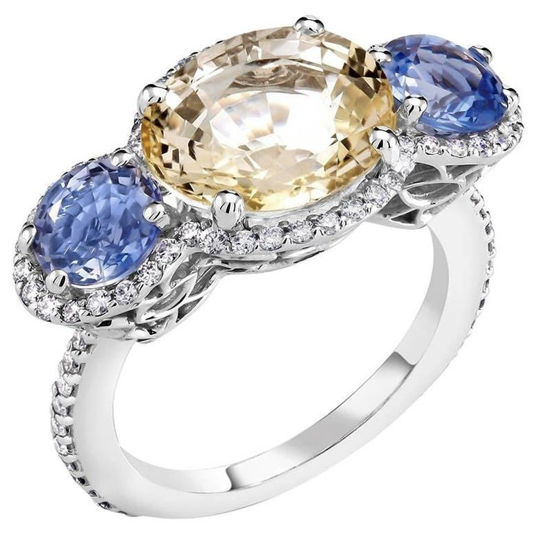 18k White Gold Diamond Yellow Sapphire Blue Sapphire Cluster Ring