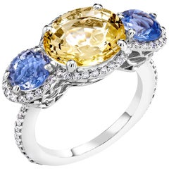 Diamond Blue and Yellow Sapphire Cocktail Ring Weighing .818 Carat
