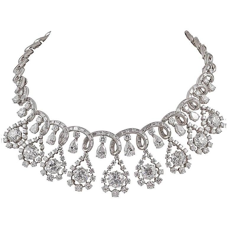 Platinum Diamond Necklace, circa 1960s