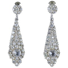 Antique Victorian Drop Earrings Silver White Paste, circa 1900
