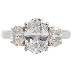 GIA Certified 1.55 Carat Oval Diamond Ring with Oval Side Stones