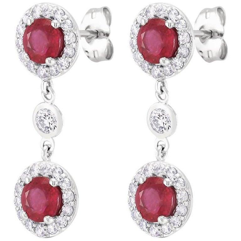 Round Ruby Halo Diamond Drop Earrings