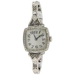 Krementz Ladies White Gold Diamond Mechanical Wristwatch, circa 1920s