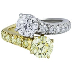 Yellow and White Diamond Two-Stone Engagement Ring