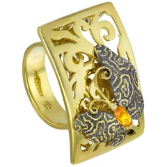 Citrine Yellow Gold Textured Butterfly Ring One of a Kind