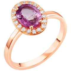 18k Rose Gold Pink Ceylon Sapphire Center Diamond Halo Cocktail Ring