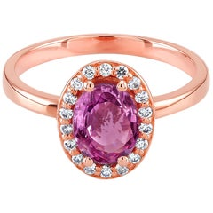 Ceylon Pink Sapphire Diamond Rose Gold Cocktail Ring Weighing 1.42 Carat